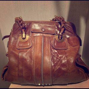 Chloe' cognac brown leather hobo bag